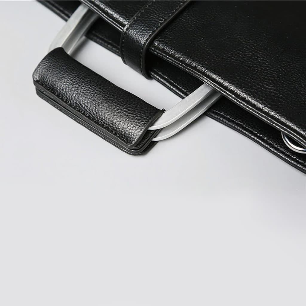 Détails anses et poignet de la sacoche cuir homme.
