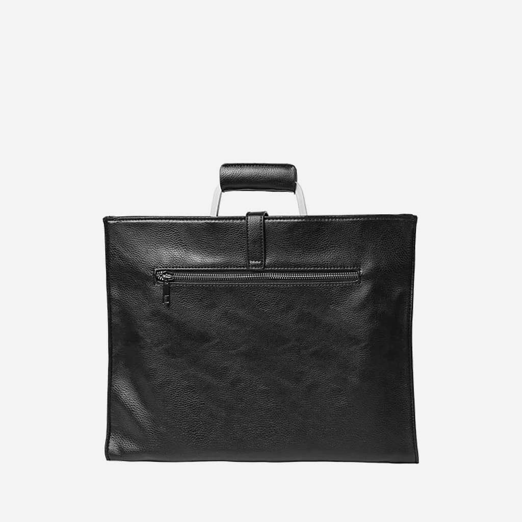 Verso sacoche porte-document cuir noir homme avec fermeture éclair zip.